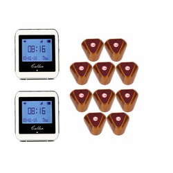 Wireless Restaurant Coaster Pager 2 Watch Calling +10 pcs Button Receiver Pager System for Hospital Waiter 433MHz F3288B