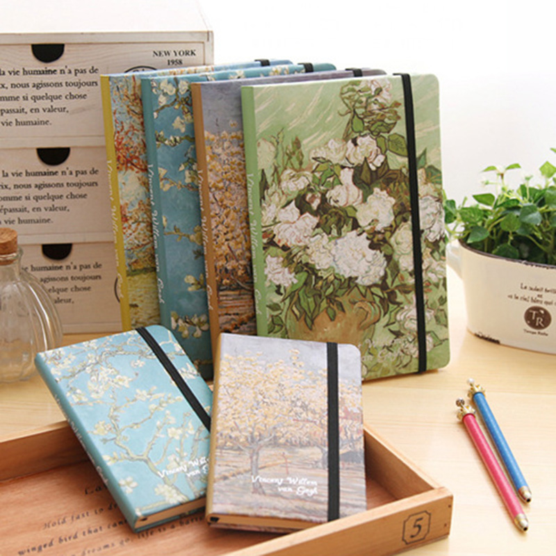 JOUDOO Vintage Van Gogh Oil Painting Notebook A5 A6 Paper Journal Diary Skethbook School Office Supplies Note Book Papeleria joudoo vintage classic galaxy night sky printed note book for kids daily week planner notebook school office supplies notepad