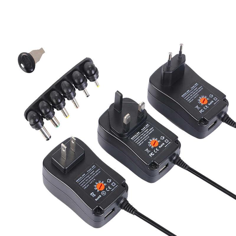 110V 220V Smart Charger 30W 3V-12V Universal Charger AC/DC Adapter Power  Supply with 6 Plug and USB Port 5V 2 1 US/EU/UK Plug