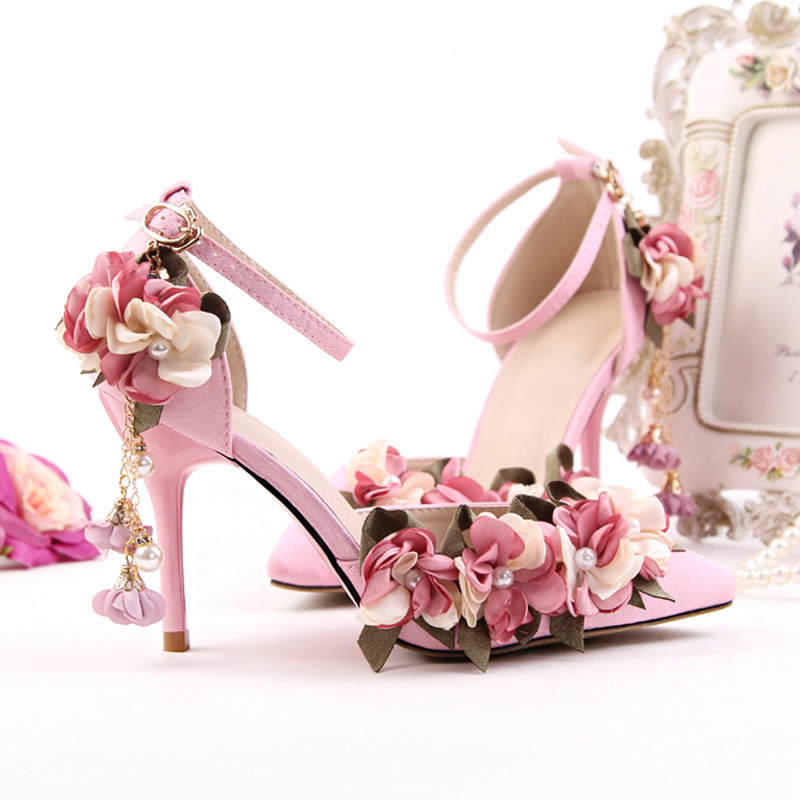 Women Wedding Shoes Summer High Heels Flowers Pointed Toe Ladies Shoes Pearl Decor Sweet Pink White Pumps Ankle Strap Sandals все цены