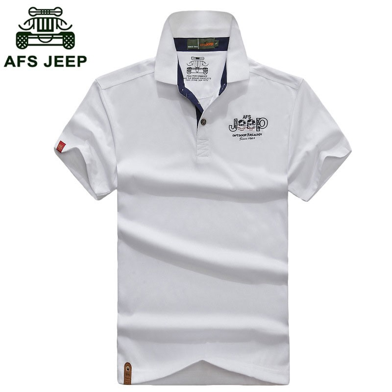 2016 New Summer Polo Casual Fashion Shirt Short Sleeve Tees Men Cotton Tops AFS JEEP Brand Solid Color Shirt Fashion Plus Size (5)