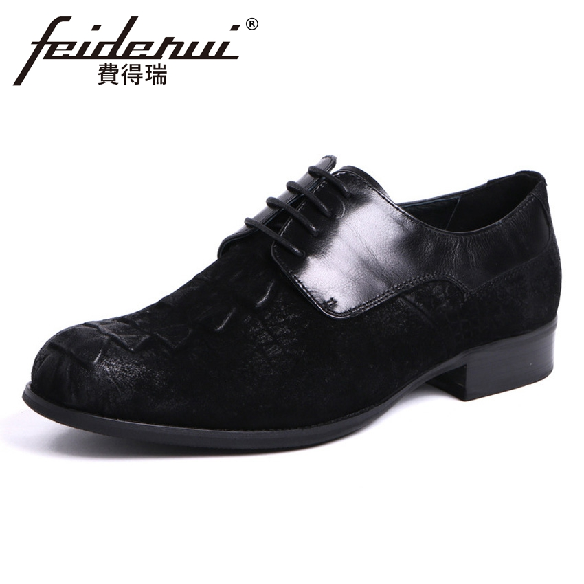 New Arrival Men's Formal Dress Footwear Cow Suede Leather Round Toe Lace-up Alligator Man Derby Wedding Party Shoes YMX414 elanrom summer men formal derby wedding dress shoes cow genuine leather lace up round toe latex height increasing 30mm massage
