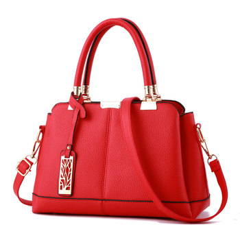 Cusual PU Women Handbag Red Office Lady Shoulder Bag Tree Pendant Decoration Messenger Zipper