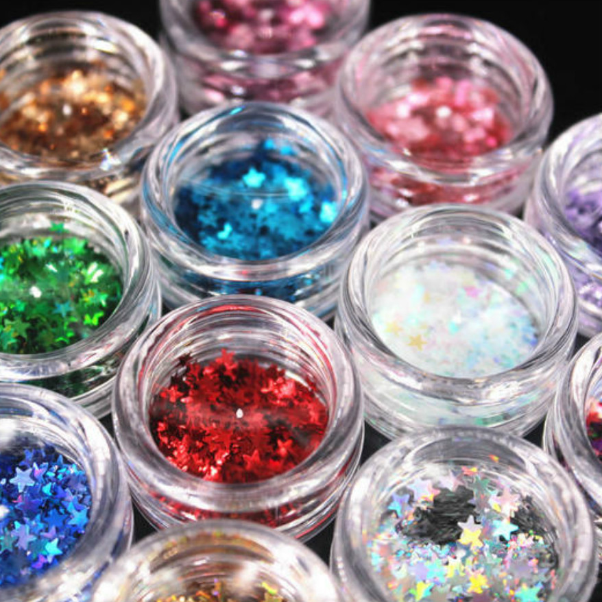 Nails Art & Tools Able Hot Sale 12 Color Star Sequins Nail/body/eye Powder Laser Paillettes Diy Acrylic Powder Nail Tips Acrylic Liquid Crystal Yhv05 Sturdy Construction