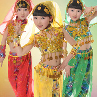 5 PCS Kids Belly Dance Costume Set Top Pants Bracelets Veil Girl Bellydance Costumes Indian Dancing Girls Dance Wear