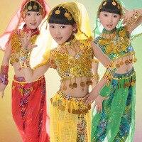 5 PCS Kids Belly Dance Costume Set Top Pants Bracelets Veil Girl Bellydance Costumes Indian Dancing Girls Dance Wear