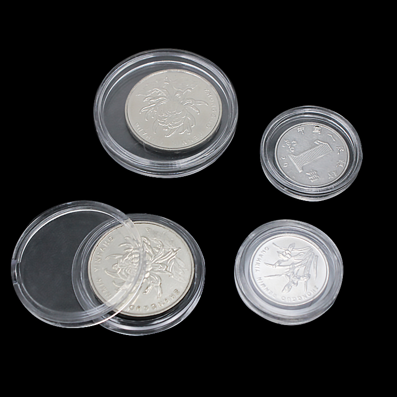 10pcs/lot Transparent Coin Holder Plastic Coin Collecting Box Case For Coins Storage Capsules Protection Container Boxes 18-38mm