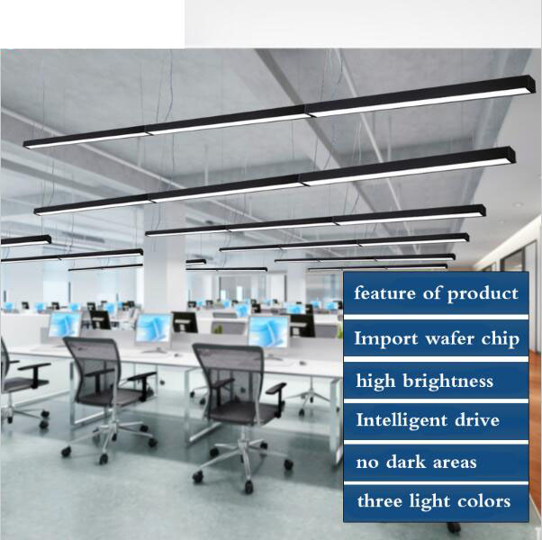 Black silver led strip lights office classroom office chandeliers black silver led strip lights office classroom office chandeliers modern fluorescent long bar aluminum lamp hanging lights in pendant lights from lights mozeypictures Image collections