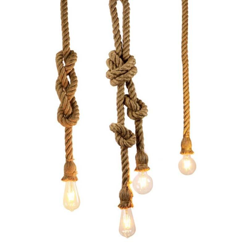 2018 Retro Vintage Seil Anhänger Licht Lampe Loft Kreative Persönlichkeit Industrielle Lampe Edison Glühbirne American Stil Für Wohnzimmer Stehlampen Lampen & Schirme