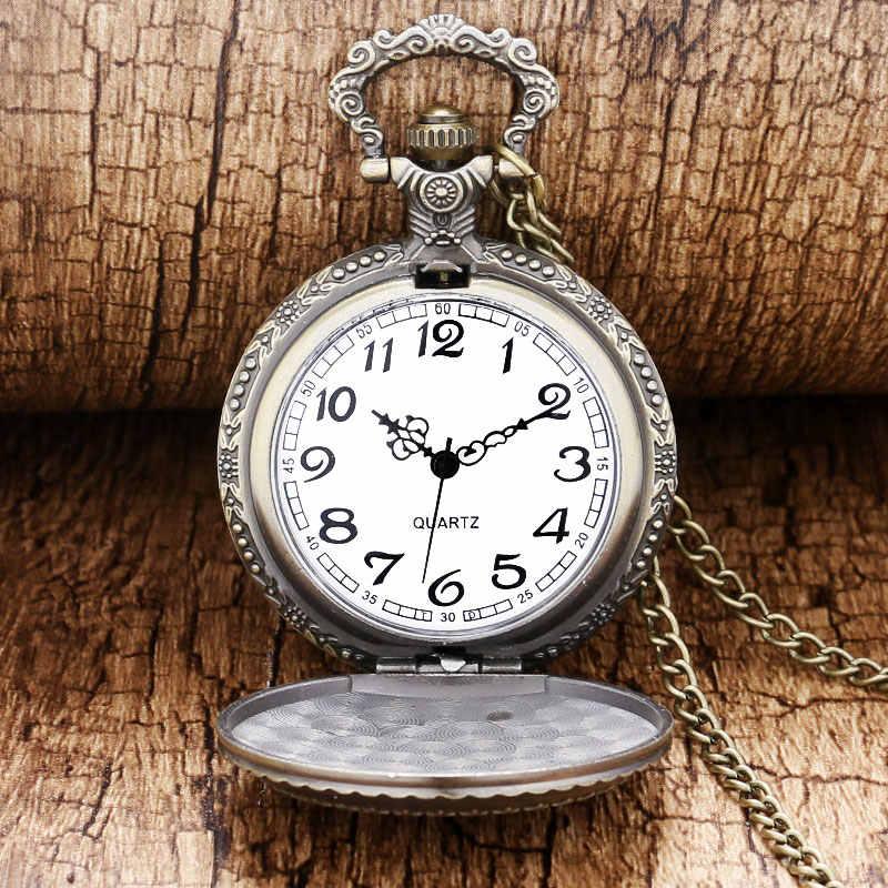 בציר ברונזה חמוד כוכבים מעגל ירח 3D גילוף קוורץ שעון כיס שרשרת תליון גברים נשים יוניסקס שעון יום הולדת מתנות saat