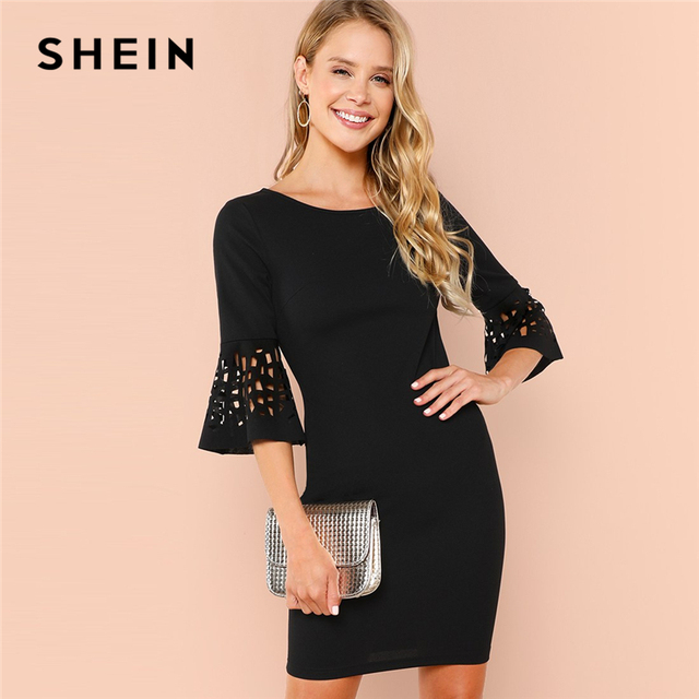 6e30cc18f98b SHEIN Black Party Elegant Cut Out Detail Ruffle Trim Flounce Sleeve Natural  Waist Solid Dress 2018