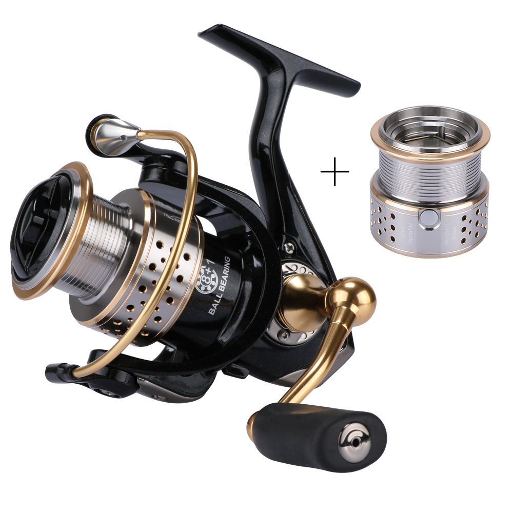 Trulinoya Metal Fishing Reels Spinning Reel Left / Right Hand with one Spare Spool 9BB Carp Fishing Reel trulinoya drum fishing reel left right hand 5 2 1 7 1bb baitcasting reels fishing reel boat wheel round baitcast vessels tr500