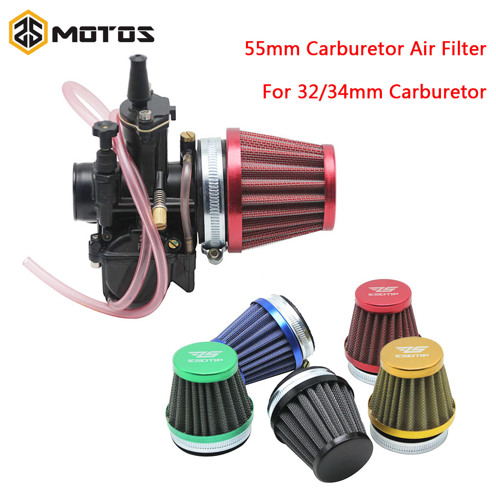 ZS MOTOS 55mm Motorcycle Carburetor Air Filter For 2T/4T 32mm <font><b>34mm</b></font> <font><b>PWK</b></font> KEIHIN KOSO OKO MIKUNI Carburetor ATV Quad Air Filter image