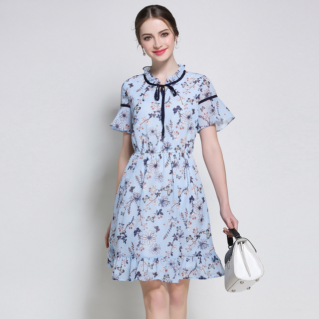5XL women summer chiffon dresses plus sizeeuropean woman summer floral  print cute bluebrief work loosen flare sleeve dress d52ec2be22dd