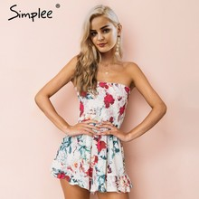 ea8c151d3227 Simplee Strapless print bohemian beach jumpsuit women Sexy ruffle summer  playsuit 2018 Ruched casual high waist romper overalls