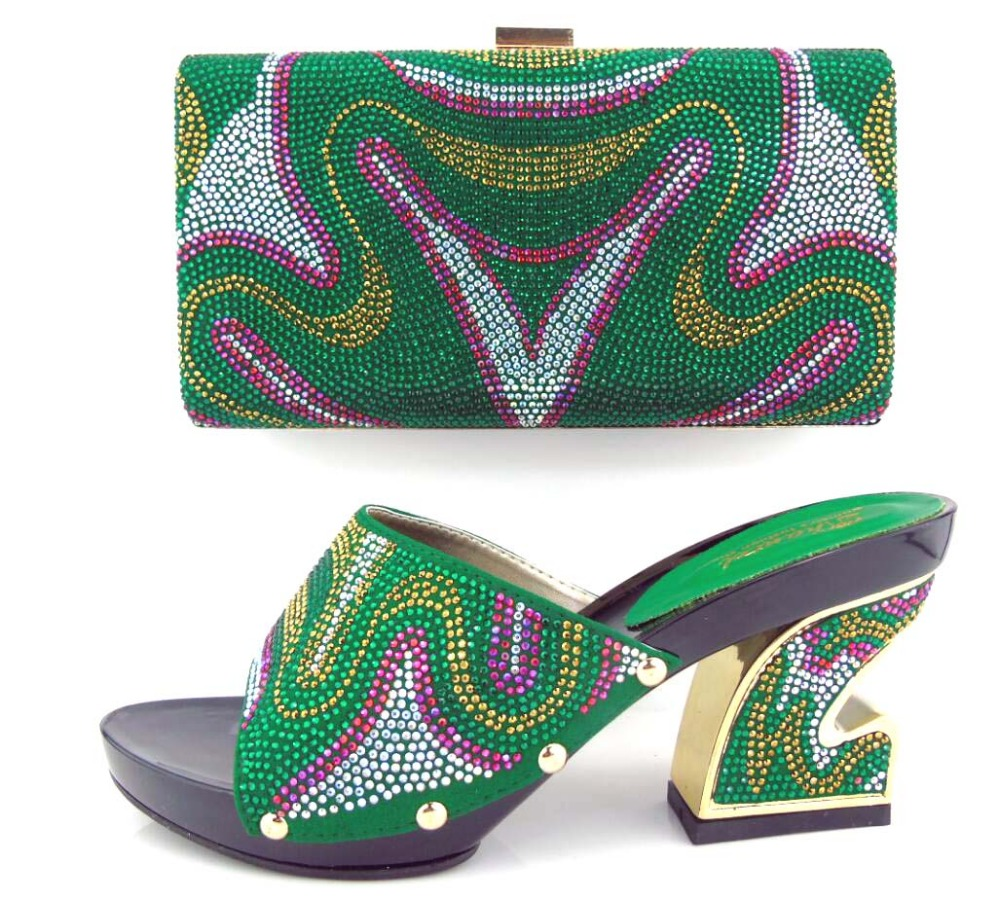 ФОТО green Wholesale African Pumps Shoes With Bag Fashion Italian Shoes And Bag Sets For Party !HUA1-5