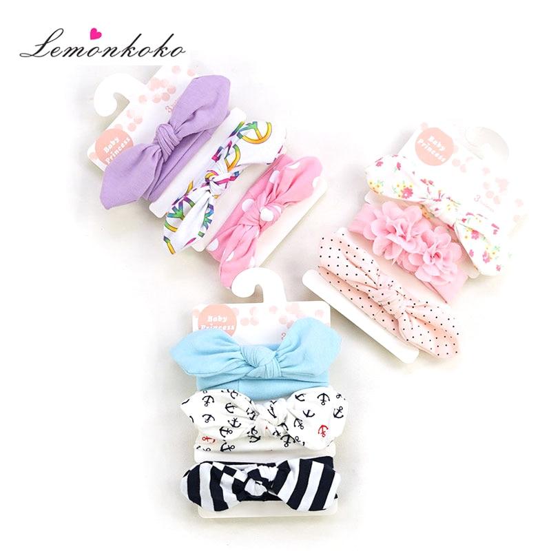[Lemonkoko] 3 Pçs/lote Crianças Infantis Do Bebê Meninas Headband Hairband Ouvido Turbante Nó Headwear Acessórios Para o Cabelo Do Bebê para a Criança