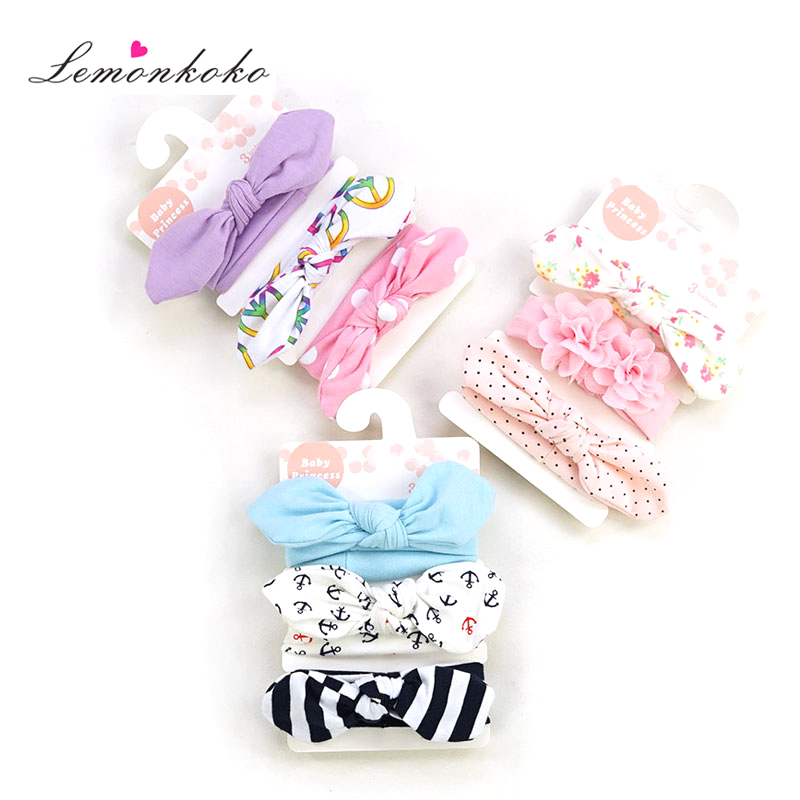 [Lemonkoko] 3 Pcs/lot Infant Baby Kids Girls Headband Ear Hairband Knot   Headwear   Baby Hair Accessories for Child Turban