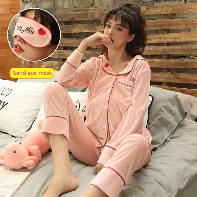 Maternity Pajamas Breastfeeding Sleepwear Nursing Nightwear Gold Velvet  Homewear Pregnancy Clothes Gift Fashion Eye Mask A215 d9065a481