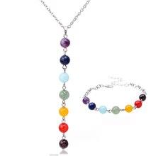 Nueva piedra natural sistemas de la joyería de moda de joyería de plata fina pulsera de ágata Y collar en forma de collar de cadena de la vendimia Collares mujer