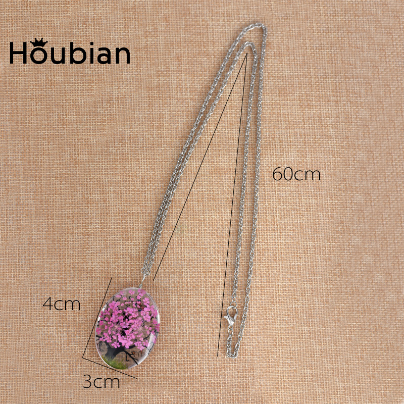 Houbian Glass Dry Flower Necklace 1
