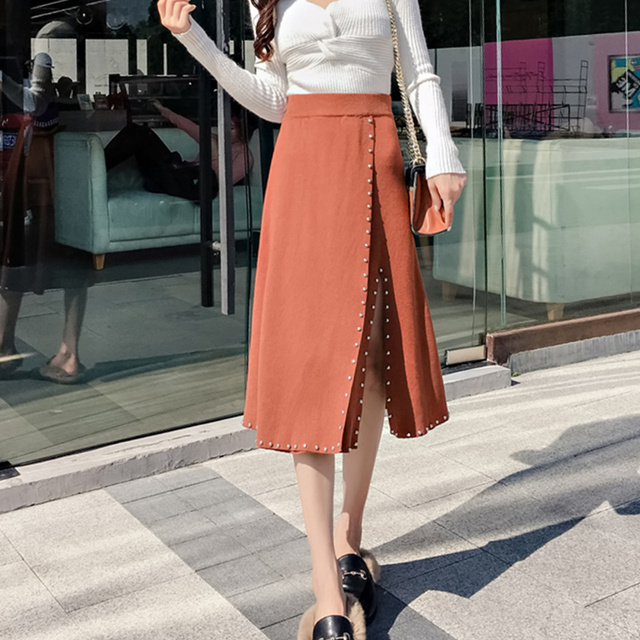 7d379c83e34 Rivet Vintage Long Skirt Korean Fashion 2018 Autumn Winter Skirts Womens  Solid Knitted Jag Slim High