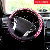 Cute Pink Black Steering Wheel Cover Case Anti Skid Ventilated Mesh Cover Women Girl Cute Cartoon Car Steering Wheel Cover