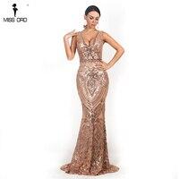 Missord 2019 Sexy Women V Neck Long Sleeveless Sequin prom Dress Retro geometry Backless Maxi Elegant Dress FT18726 1