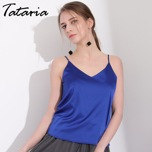 831fcdb4cc01ae Tataria Womens Blouses And Tops Sleeveless Silk Blouse Shirt Summer Top  Female Work Wear Silk Blouses Haut Femme Blusa Feminina