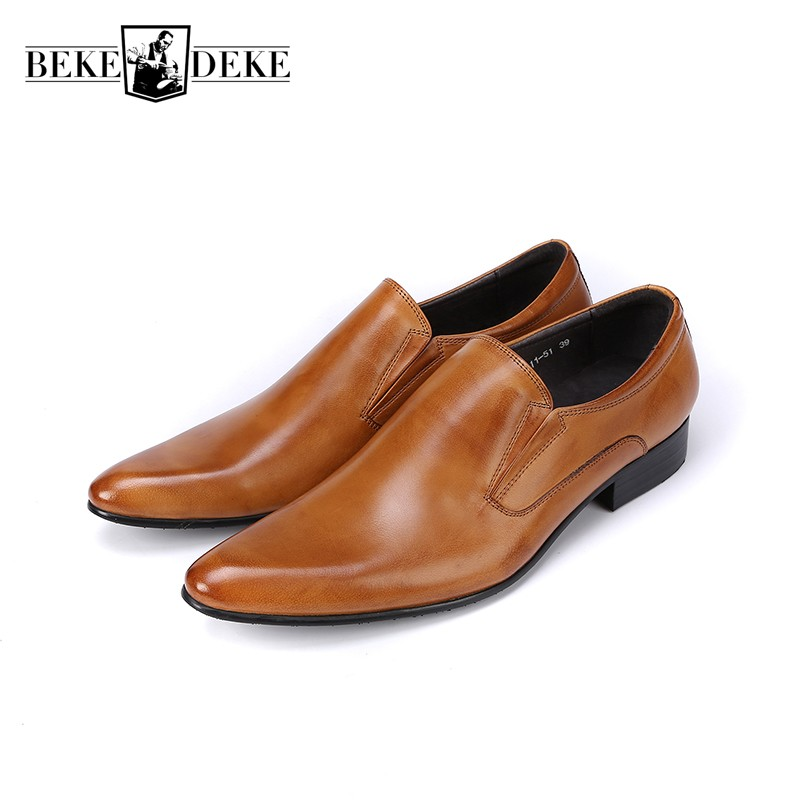New Classic Genuine Leather Mens Dress Shoes Business Formal Wedding Office Man Brown Black Footwear Pointed Toe Slip On Loafers цена 2017
