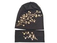 B17956 2107แฟชั่นผู้หญิงหมวกทองและสีเงินดอกไม้กลมไม่มีกีฬาโยคะผ้าฝ้าย100%ผมaccessoriseดอกไม้หมวกbeaniesสำหร...
