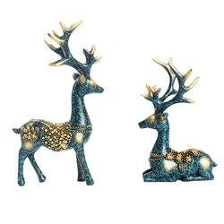 2 pçs ornamentos casal cervos forma resina artístico bonito artesanato em miniatura estatueta decoração para a loja decoração para casa artesanato