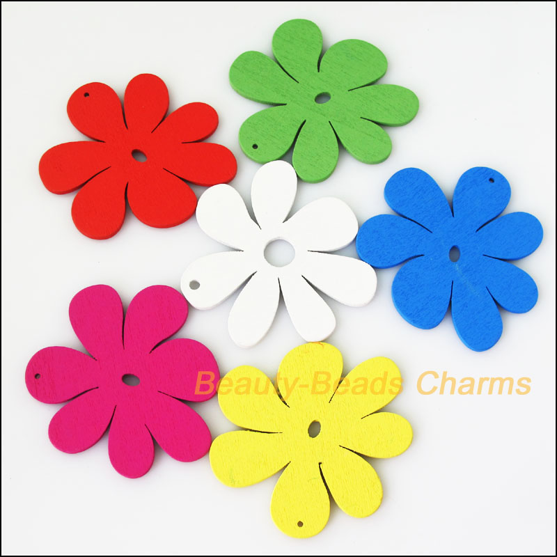 Fashion 8Pcs Mixed Craft Wooden Flower Charms Pendants 57.5x59mm