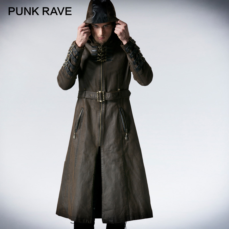 PUNK RAVE Steampunk Winter Vintage Metallic Bronze Belt Stylish Men Hooded Long Coat Coffee Twill Leather Loops Hooded   Trench