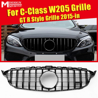 For Mercedes C Class W205 C205 Sport Coupe C63 Front Grille GrillGTS Look ABS Gloss Black Add on Style without Camera 2015 2018