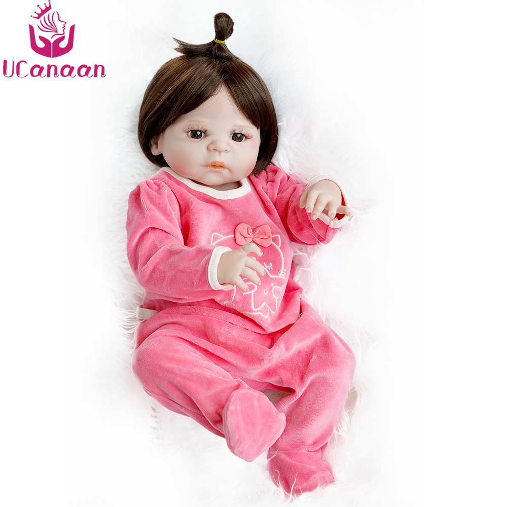 UCanaan 22'' 55CM Full Silicone Doll Reborn Baby Alive New Born Dolls Kawaii Long Hair Brown Eyes With Climb Clothes Brinquedos ucanaan 55cm hair rooted cloth body reborn doll soft silicone brown eyes toys for girls baby alive new born kawaii kids toys