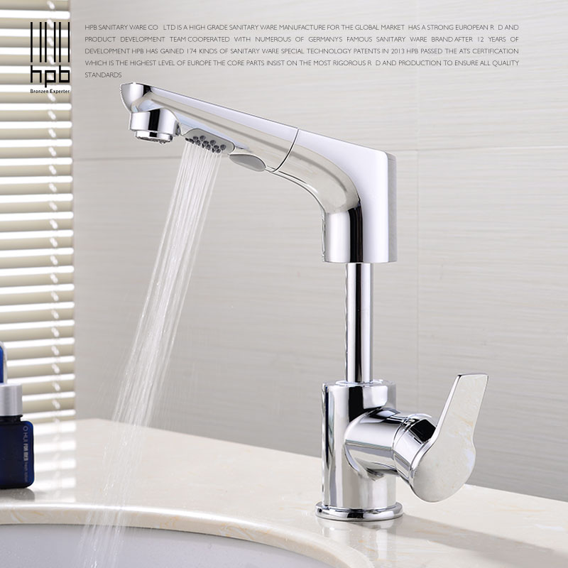 HPB Pull Out Basin Faucet Bathroom Faucet Tap Bathroom Water Mixer Basin Sink Mixer Brass Chrome Finished Single Handle HP3048 xoxo modern bathroom products chrome finished hot and cold water basin faucet mixer single handle water tap 83007