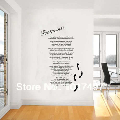 US $22 02 10% OFF|Free shipping large oversize 77x120cm The Footprints in  the Sand Giant Wall Art, Lord Poem,vinyl Religious Wall Stickers,lord001-in