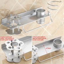 Hair Dryer Holder Wall Mount Blow Space Aluminum Hanging Rack Organizer for Toothbrush Towel