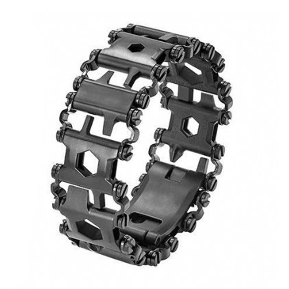Stainless Steel Tread Bracelet Multifunction Outdoor Bolt Driver Tools Kit Travel Friendly Wearable Multitool for Sales 29 in 1 multi functions tools bracelets for mens stainless steel wear tread bracelets wearable screwdriver infinity war bracelet