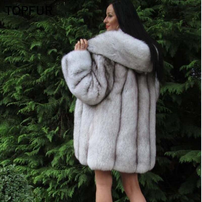 Nouveau Hiver Topfur Manteau Femmes 2018 De Renard Mode Fourrure Épais Capuchon Cm Avec Style Réel Longue Chaud Luxe 80 0qBTw0