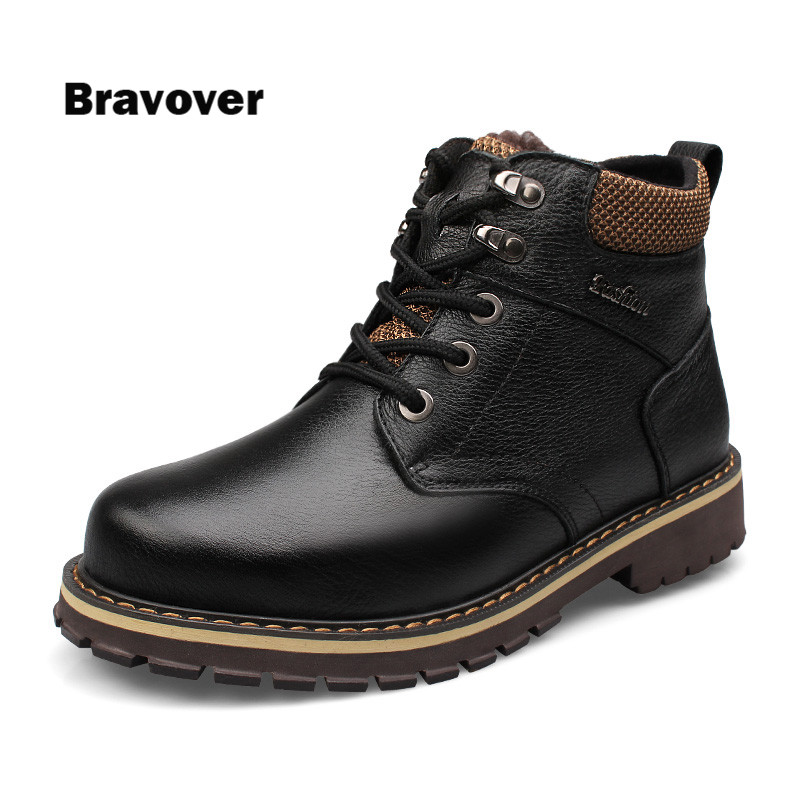 Size 38~50 Natural leather Winter men Boots Russian Style Genuine leather warm with Fur Handmade Men Winter Snow Boots warmest genuine leather snow boots size 37 50 brand russian style men winter shoes 8815