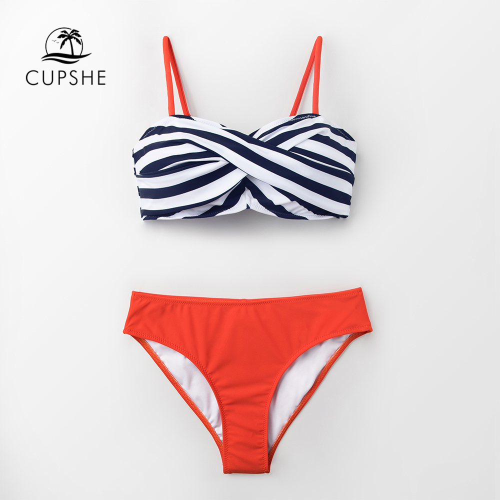 CUPSHE Black Stripe And Tangerine Wrap Bikini Sets Women Push Up Two Pieces Swimsuits 2019 Girl Beach Bathing Suits