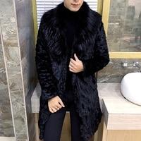 Mens Faux Fur Coats Áo Khoác Lông Thú Men Đen Trắng 3XL Dày giả Lông Thú Coat Men Dài Jacket Faux Fur Áo Khoác Da Cho người đàn ông