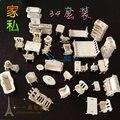 34 PÇS/SET Escala Modelos Em Miniatura De Madeira Casa de Boneca Móveis Casa De Bonecas Conjunto Accessorieswooden Brinquedos Jigsaw Puzzle 3D DIY
