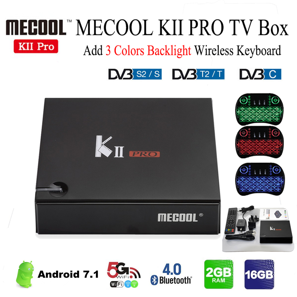 MECOOL KII Pro TV Box DVB-T2 DVB T2+S2 Amlogic S905D Quad-core Android 7.1 Media Player 2GB RAM 16GB ROM 2.4G/5G Wifi 64Bit Box