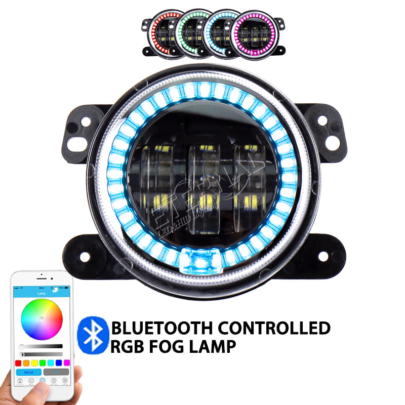 Фотография 4inch 30W remote RGB LED fog light for offroad Wrangler Rubicon JK LJ YJ motorcycle 4x4 vehicle fog lamp