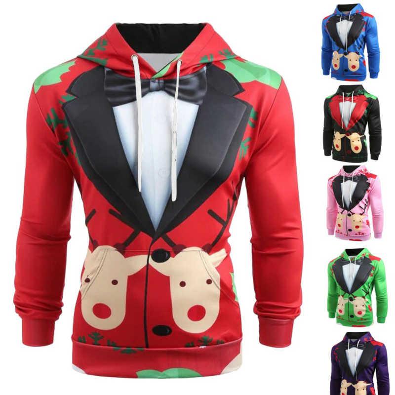Новый дизайн для мужчин Рождественский костюм узор 3D принт с длинным рукавом