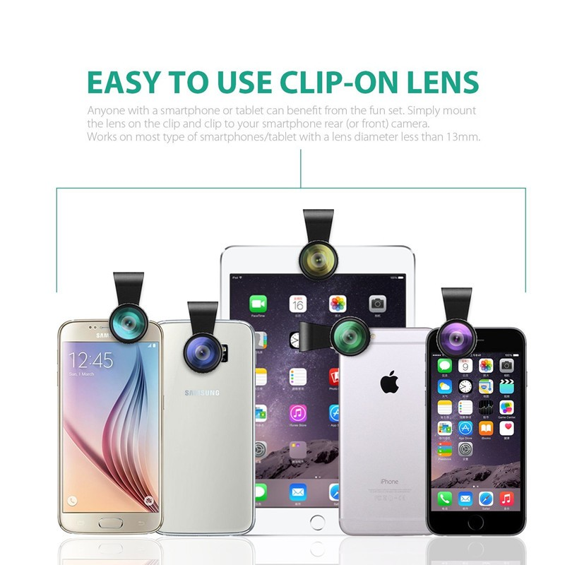 AUKEY 180 Degree Fisheye Lens + Wide Angle + Macro Lens 3in 1 Clip-on Cell Phone Camera Fish eye Lens for Xiaomi & other Device 7