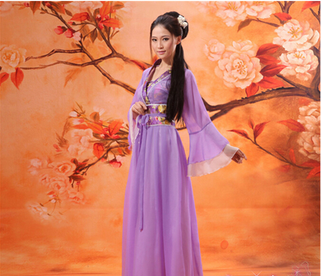 20cd4435f8004 Multicolor Ancient Chinese Costume Clothes Fairy Tang Suit Hanfu Guzheng  Costume Fairies Chiffon Dresses-in Chinese Folk Dance from Novelty &  Special ...